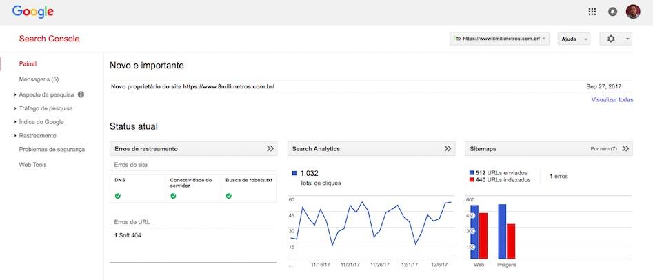 Google Search Console tela principal
